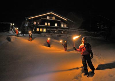 Schneeschuh, Fackel Gruppe, Flühmatt;Snow Shoe, Torch, Group, Flühmatt;